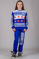 Детский трикотажный спортивный костюм для девочки BROOKLYN (синий)