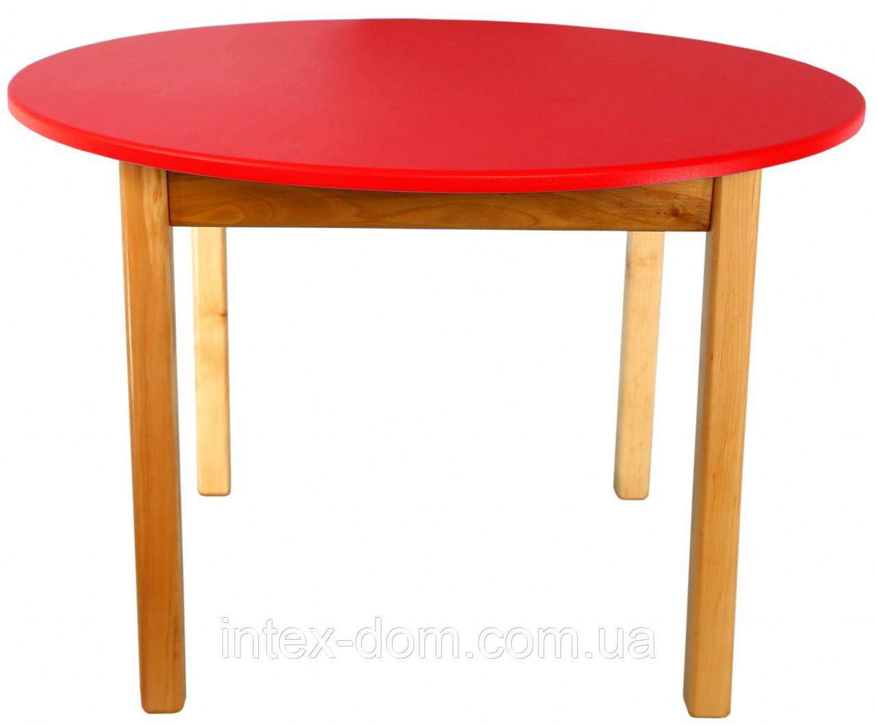 Деревянный (красный) столик с круглой столешницей Финекс Плюс