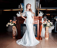 Свадебное платье рыбка со шлейфом и баской Гера