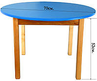 Деревянный (синий) столик с круглой столешницей Финекс Плюс