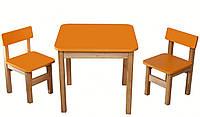 Эко набор деревянный стол и стульчики оранжевый