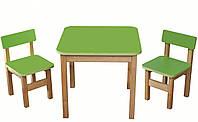 Эко набор деревянный стол и стульчики салатовый