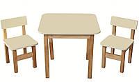 Эко набор деревянный стол и стульчики ваниль