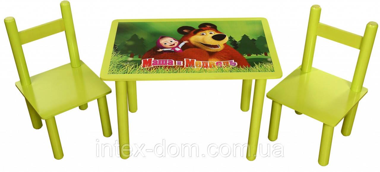 """Набор Стол и 2 стульчика Bambi 0295(Финекс Плюс """"Маша и Медведь"""")"""