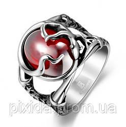 Кольцо нержавеющая сталь дикий плющ алый