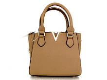 Маленькая стильная женская сумочка Эко-кожа. Бежевая