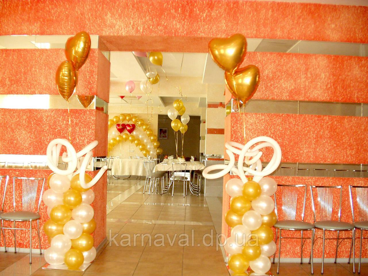 Свадебные стойки из воздушных и гелиевых шаров