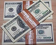 Сувенирная шуточная пачка денег - 100 долларов