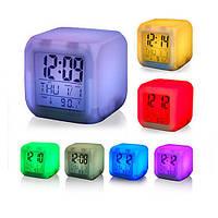 Электронные настольные часы с термометром LED Color Changing Glowing Alarm Thermometer Digital Clock, фото 1
