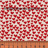 Сердечки, красный, белый, мелкий принт, дизайнерский хлопок для пэчворка и рукоделия. LO-1