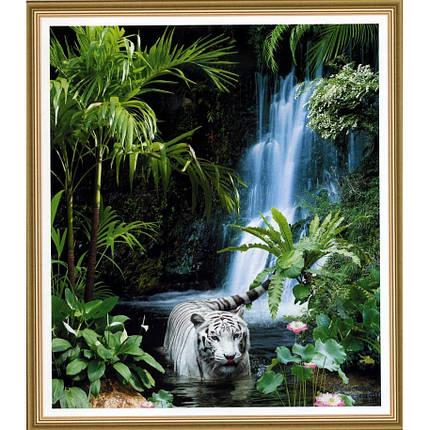 Фотообои,Тигр, водопад,  Тропическая сказка, 15 листов, размер 242х201см, фото 2