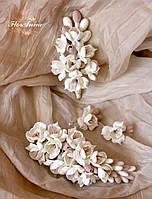 """""""Топлёное молоко""""(заколка+серьги+бутоньерка) авторские свадебные украшения ручной работы для невесты, фото 1"""