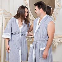 Велюровый женский халат серый кимоно от Guddini 029 M(46-48)