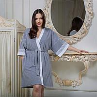 Велюровый женский халат серый кимоно от Guddini 029 L(50-52)