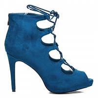 Женские замшевые туфли на шпильке синие с завязками