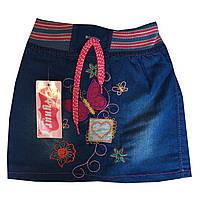 """Детская джинсовая юбка на девочку """"Бабочка"""". 2-5 лет. Джинс. Оптом., фото 1"""