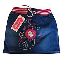 """Детская джинсовая юбка на девочку """"Китти"""". 2-5 лет. Джинс. Оптом."""