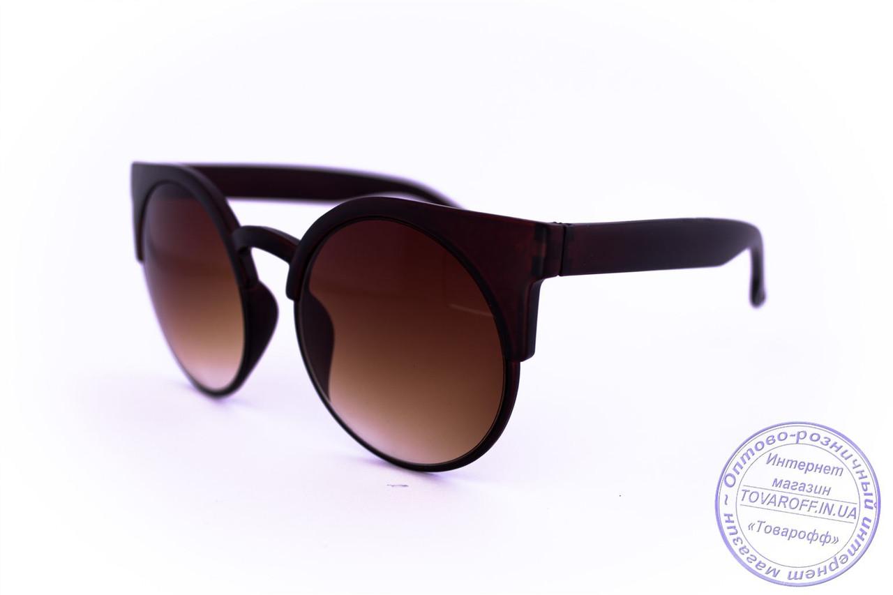Стильные солнцезащитные матовые очки Броулайнеры - Коричневые - 2015-226