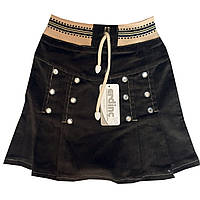 """Детская джинсовая юбка на девочку """"Камни"""""""". 4-6 лет. Темно-серая. Оптом., фото 1"""