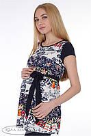 """Туника для беременных """"Sesily top"""", принт цветы на полоске."""