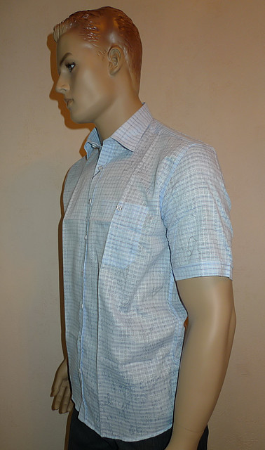 Голубая рубашка AYGEN с коротким рукавом