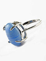 Изысканное кольцо с Голубым агатом