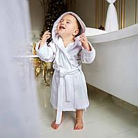 Детский махровый халат для маленькой девочки с кружевом Марипоза от Guddini  от 0 до 12 месяцев
