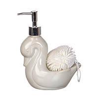 Диспенсер для жидкого мыла (моющего средства) керамический с подставкой под губку Белый Лебедь 755-090