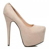 Женские высокие замшевые туфли на платформе бежевые