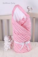 """Вязаный конверт на выписку для девочки """"Мечта""""  розовый"""