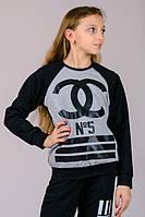 """Реглан детский """"Chanel №5"""" (черный+серый)"""