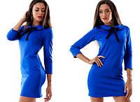 Платье короткое синее с ленточкой на воротничке. Арт-1043.