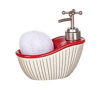 Диспенсер для жидкого мыла (моющего средства) керамический с подставкой под губку Ванночка красная 755-096