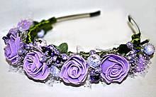 Нежный ободок для волос Сиреневые розы