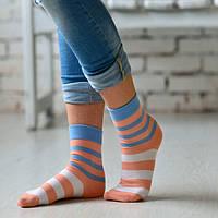 Персиковые женские носки в полоску ТМ Дюна
