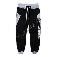 Спортивные штаны детские Реплика Adidas для мальчиков (8-12 лет) трикотажные Черные Оптом.