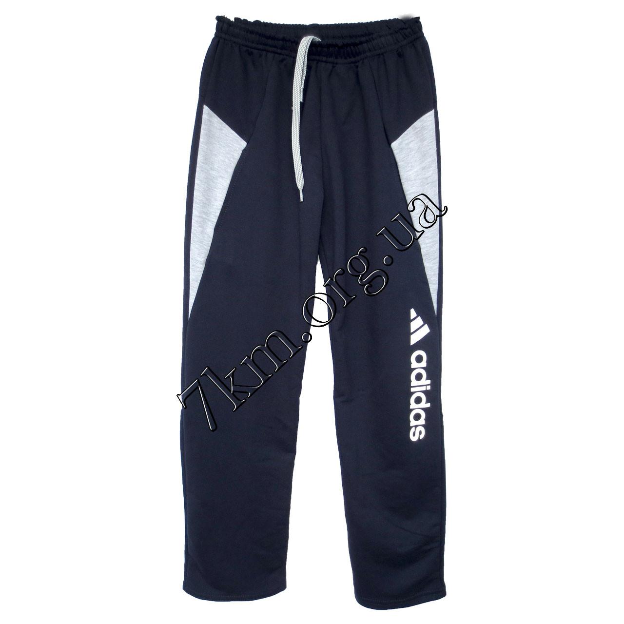 Спортивные штаны детские Реплика Adidas юниоры (10-15 лет) трикотажные Темно синие Оптом.