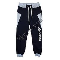 Спортивные штаны детские Реплика Adidas для мальчиков (8-12 лет) трикотажные Темно синие Оптом.