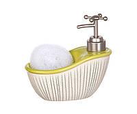 Диспенсер для жидкого мыла (моющего средства) керамический с подставкой под губку Ванночка желтая 755-098
