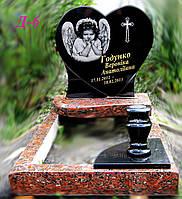 Памятник дитячий у вигляді серця з ангелом Д-6