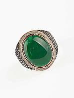 Кольцо с натуральным камнем Хризопразом