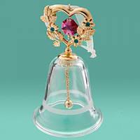 Сувенир колокольчик с сердцем Swarovski позолота 24К (малиновый кристалл)