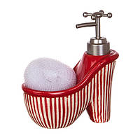 Диспенсер для жидкого мыла (моющего средства) керамический с подставкой под губку Туфелька полоска 755-100