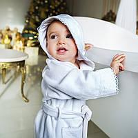 Детский махровый халат для девочки с кружевом Марипоза от Guddini  на 3-5 лет кремовый