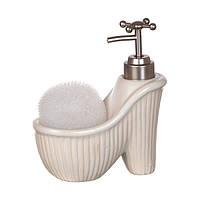 Диспенсер для жидкого мыла (моющего средства) керамический с подставкой под губку Туфелька белая 755-101