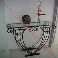 Кованый стол -консоль со стеклянной столешницей 56