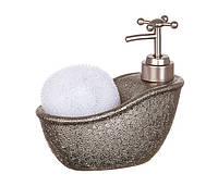 Диспенсер для жидкого мыла (моющего средства) керамический с подставкой под губку Ванночка Антик 755-104
