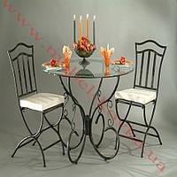 Кованый стол круглый со стеклянной столешницей 59