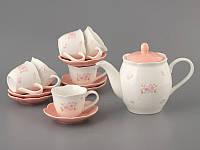 """Кофейный набор """"Цветочки"""" 13 предметов (чайник, 6 чашек, 6 блюдец), фото 1"""