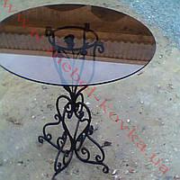 Кованый стол круглый со стеклянной столешницей 58
